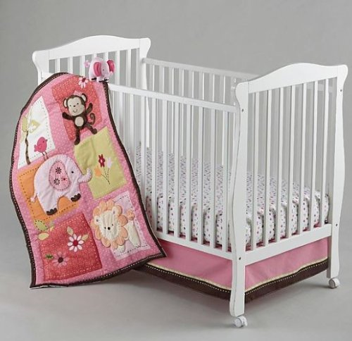 NoJo Little Bedding Crib Set: Raspberry Jungle