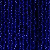 Excelvan 24V Safe Low Voltage 6m x 3m 600 Led Blue 8 Lighting Modes Fairy String Curtain Indoor Outdoor Lights for Christmas Xmas Wedding Party Home Window Decorations