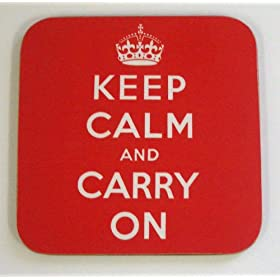 Keep Calm and Carry On Coaster - Square
