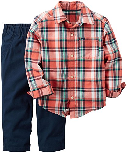 Carter's Baby Boys 2 Pc Playwear Sets, Plaid, 24 Months