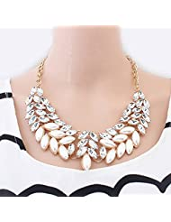 Glitz Fashion Necklaces For Women Simulated-pearl Plant Choker Link Chain Crystal Pendant Necklace