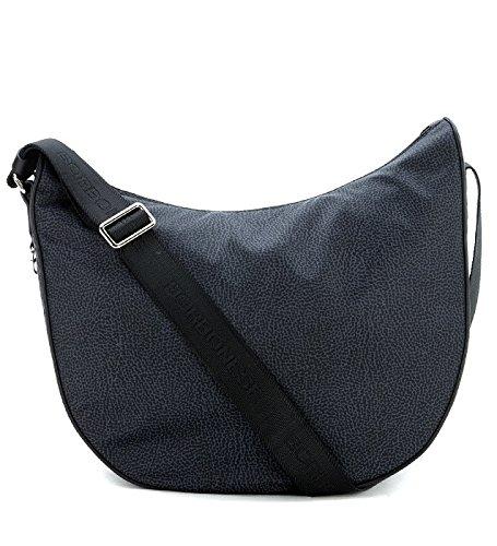 Borsa a tracolla Borbonese Luna Bag Medium nera in tessuto Jet