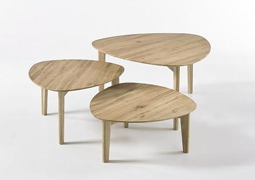 """Beauty.Scouts Couchtisch """"Kopenhagen"""" - Tisch, Couchtisch, Beistelltisch, Fernsetisch, 3er Set, Asteiche, massiv geölt, 60x27x60, 10 kg"""