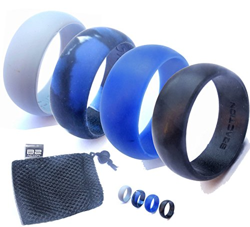 Men's Silicone Wedding Ring Band by B2ACTION. 4 Rings Pack (Black, Gray, Blue, Camo) with Gift Box