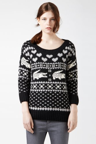 Long Sleeve Jacquard Croc Sweater