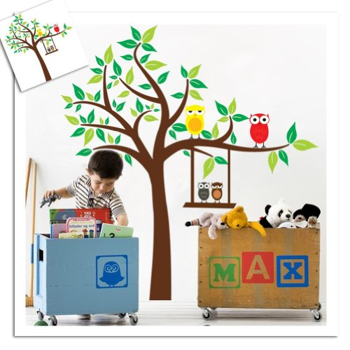 Mzy Llc (Tm) Super Large 120X130Cm Color Swing Owl And Scroll Tree Wall Sticker Decal For Baby Nursery Kids Room