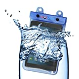 H2OViBe [Safe And Sealed] Waterproof Case With Waterproof AUX [Headphone] Input for Apple iPad Mini Amazon Kindle Barnes and Nobles Nook and most other tablets up to 7 inches - Blue