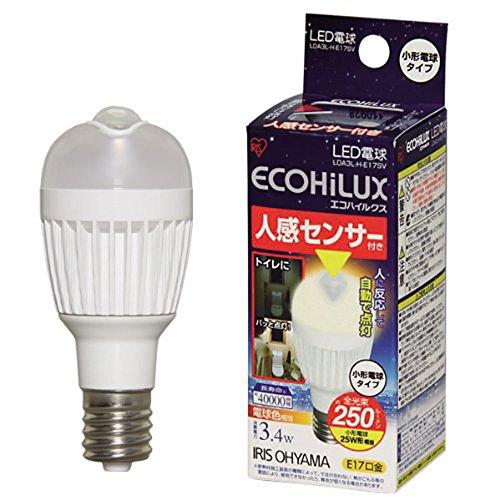アイリスオーヤマ LDA3L-H-E17SV LED電球人感センサー付小形電球 垂直取付タイプ電球色 (250lm) 1個