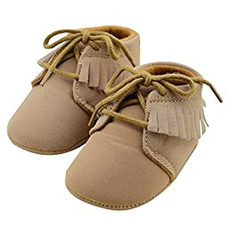 Voberry® Baby Girls Genuine Leather Soft Sole Shoes (6-9 months, Brown)