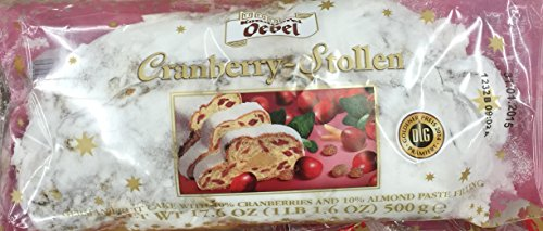 Cranberry Stollen - Traditional German Christmas Fruit Cake with Cranberry & Almond Filling - 4 X 500 G (4 X 17.6 Oz)