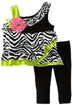 Rare Editions Baby Baby-Girls Newborn Zebra Print Legging Set, Black/White/Lime, 3 Months