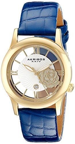 Akribos XXIV AK837BU 34mm Metal Case Blue Calfskin Synthetic Sapphire Women's Watch