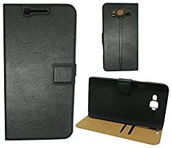 MACC (TM) Business Premium Faux Leather Flip Case Flip Cover for Xiaomi Mi 4i - with Stand Magnetic Lock Card & Currency Wallet - BLACK
