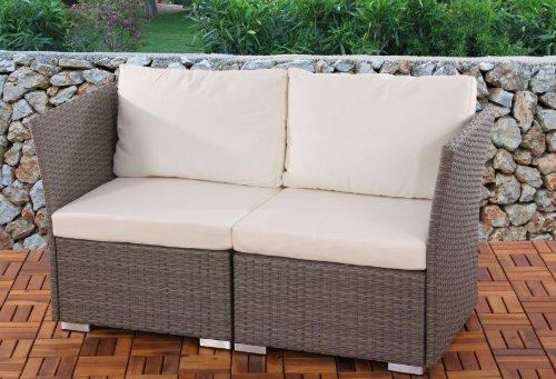 2er Sofa 2-Sitzer Siena Poly-Rattan, Gastronomie-Qualität ~ grau mit Kissen in creme