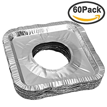 Aprince Stove Burner Covers, 60 Pieces Aluminum Foil Square Gas Stove Burner Covers, Disposable Thicker Bib Liners Covers for Gas Top, 8.7