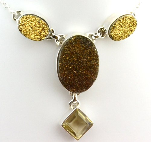 Golden Druzy, Lemon Quartz Sterling Silver Jewelry Handmade Necklace