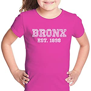 LA Pop Art - Girls T-shirt - Popular Neighborhoods in The Bronx New York - Word Art - Pink - Medium