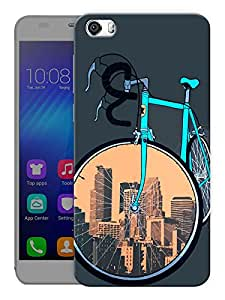 "Humor Gang Cycle Covers Cities Printed Designer Mobile Back Cover For ""Huawei Honor 6"" (3D, Matte, Premium Quality Snap On Case)"