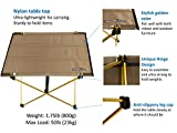 Trekology Compact Portable Camping Table - Folding Table in a Bag for Beach, Picnic, Camping, Patio, Fishing, Indoor, Golden Color