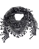 Lace Tassel Sheer Burnt-out Floral Print Triangle Mantilla Scarf Shawl Neck Wrap
