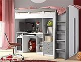 Hochbett Etagenbett mit Kleiderschrank und Schreibtisch 215145 weiß