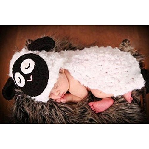 Baby Crochet Costume Photography Props 0-3 Month sleepy Sheep Lamb Hat