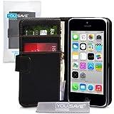 iPhone 5C Tasche Schwarz PU Leder Brieftasche H�lle