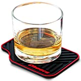 ARTORI Cheers Car Mat Silicone Coasters Designed As Mini Sports Car Carpet. Unique, Fun Large Silicone Coasters, For Bar, Beer, Gifts for Men and Man Cave, Set of 4 (Black, Red)