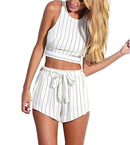 Minetom Donne Tute Sexy Chiffon Shirt E Pantaloncini Strisce Fiori Di Progettazione Bianco 42