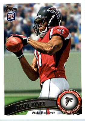 2011 Topps Football Card # 350 Julio Jones RC / (football at chest) - Atlanta Falcons (RC - Rookie Card) NFL Trading Card in a Protective Case!