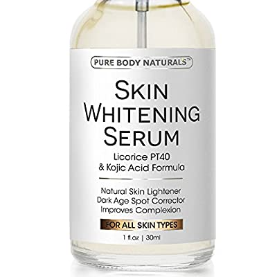 Skin Whitening Serum - Natural Skin Whitening Cream Treatment - Brighten Complexion, Lighten Dark Spots, Reduce Age Spots - Expert Formula Featuring Kojic Acid & Vitamin E - Safe & Effective