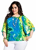 Ashley Stewart Womens Plus Size Tropical Square Neck Blouse
