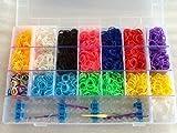 Toy - 4200 Bunter Regenbogen-Gummi Loom Bands Armband, das Kit-Set mit S-Clips