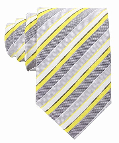 Scott Allan Mens Striped Necktie - Yellow & Gray (Men Ties Yellow compare prices)