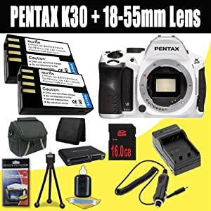 Pentax K-30 Weather-Sealed 16 MP CMOS Digital SLR Body (White) + Two D-LI109 Replacement Lithium Ion Batteries + External Rapid Charger + 16GB SDHC Class 10 Memory Card + Carrying Case + Multi Card USB Reader + Memory Card Wallet + Deluxe Starter Kit DavisMax Bundle