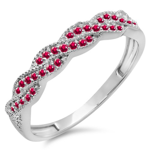 025-Carat-ctw-10K-White-Gold-Round-Ruby-Ladies-Anniversary-Wedding-Stackable-Band-Swirl-Ring-14-CT