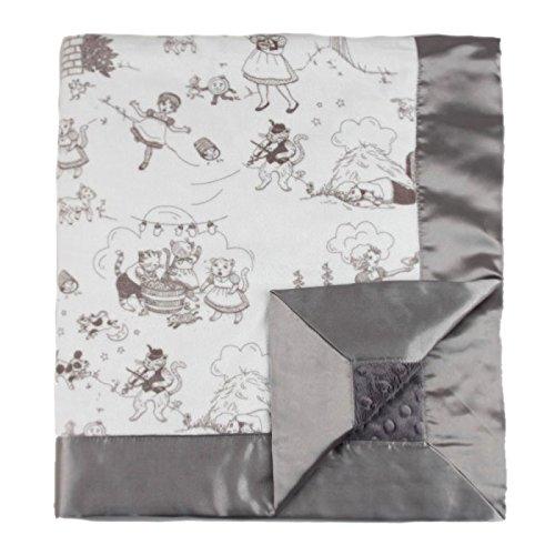 "My Blankee Bedtime Story Minky Silver w/ Minky Dot Charcoal Baby Blanket, 30"" x 35"""