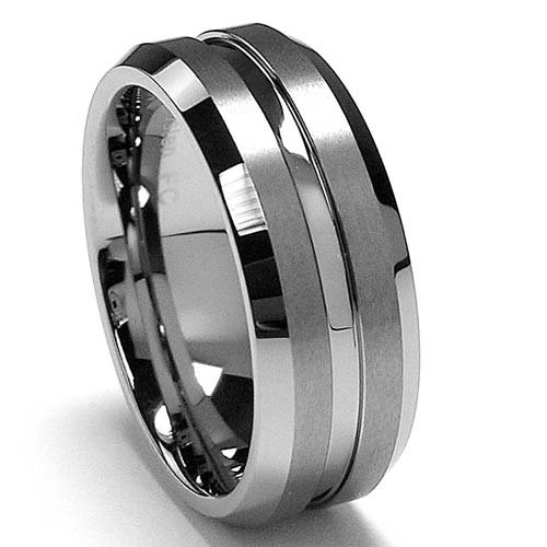 Polish  Matte Finish Men's Tungsten Ring Wedding Band Sizes 6 to 15