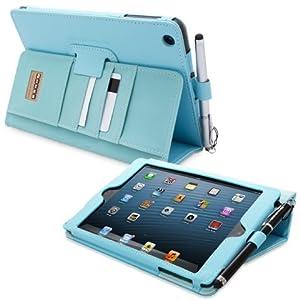 Snugg® iPad Mini & iPad Mini 2 Case - Executive Smart Cover With Card Slots & Lifetime Guarantee (Baby Blue Leather) for Apple iPad Mini & iPad Mini 2