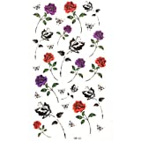 Watertight tattoo stickers floral purple roses black and orange roses butterfly