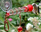 Single Tube Window Hummingbird Feeders with Decorative Red Marble (Set of 2)