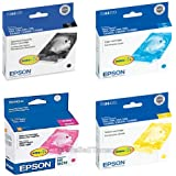 Epson Ink Cartridge Multipack with 1 Each T044120 Black, T044220 Cyan, T044320 Magenta, T044420 Yellow