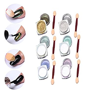 6 Pcs 1g Nail Art Mirror Glitter Shinning Nail Chrome Pigment Powder Nail Art Tools with Sponge Stick