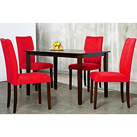 5-Piece Dining Sets | Warehouse of Tiffany Red Shino Table with 4 Red Chairs