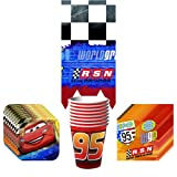 Disney Cars Grand Prix Dream Party Supplies Pack Including Plates, Cups, Tablecover and Napkins - 8 Guests