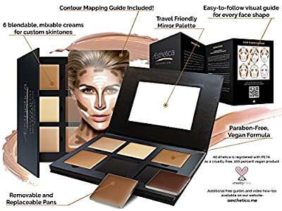 Best Cheap Deal for Aesthetica Cosmetics Cream Contour and Highlighting Makeup Kit - Contouring Foundation / Concealer Palette - Vegan, Cruelty Free & Hypoallergenic - Step-by-Step Instructions Included from Aesthetica - Free 2 Day Shipping Available