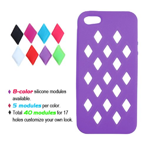 Cell Accessories For Less (Tm) Apple Iphone 5S/5 Electric Purple Module Skin Cover + Bundle (Stylus & Micro Cleaning Cloth) - By Thetargetbuys