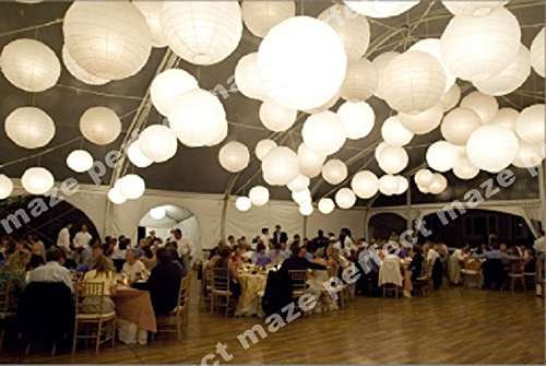 """Perfectmaze 24 Piece White Round Chinese Paper Lantern With Led Mixed Size (6""""8""""10""""12""""14""""16"""") For Wedding Party Engagement Decoration"""