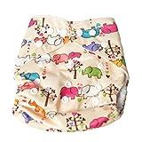 (ミルキーウェイ)milkyway 布おむつ カバー ワンサイズ スナップボタン ぞうさん 柄 ベージュ 防水