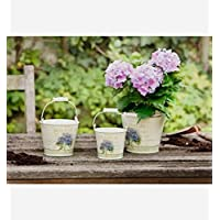 Small Metal Buckets with Hydrangea Motif and Wood Handles, Set of Three Product SKU: GD221933